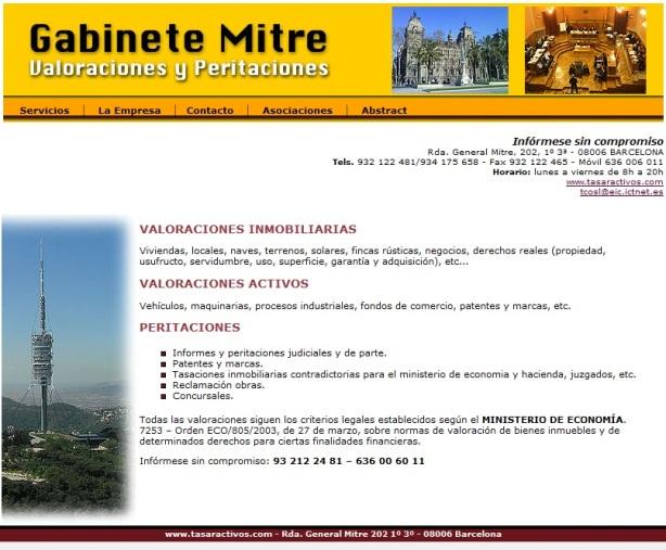 Diseño de pagina Web de peritaciones y tasaciones Barcelona.